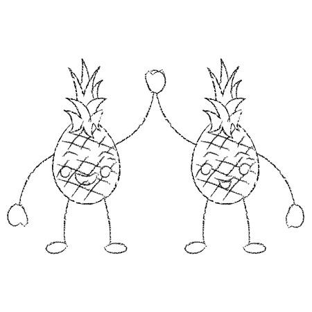 Due personaggi dei cartoni animati ananas felice caratteri illustrazione vettoriale Archivio Fotografico - 90838730