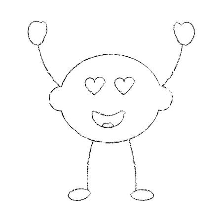 lime or lemon in love heart eyes fruit  icon image vector illustration design sketch line Illustration