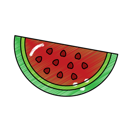 watermelon fruit delicious vitamins nutrition food vector illustration Ilustração