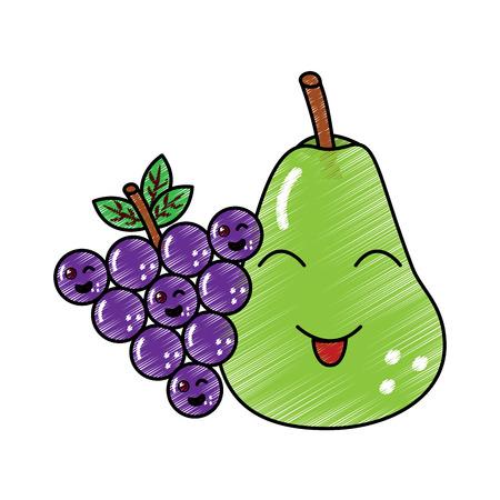 pear and grapes fruits cartoon vector illustration