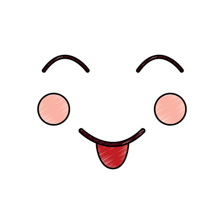 face expression facial gesture cartoon vector illustration Ilustração