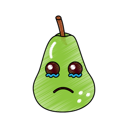 kawaii fruit pear character, cartoon image vector illustration