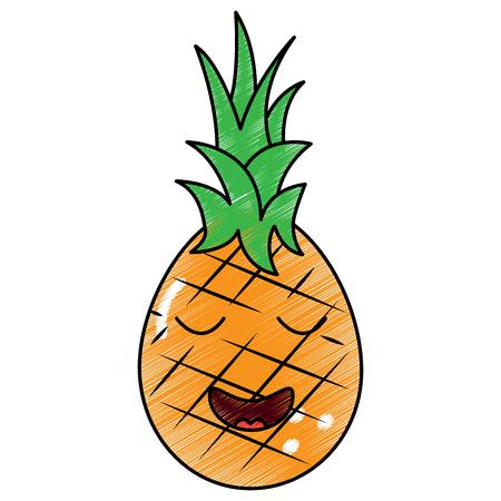카와이 파인애플 과일, 만화 벡터 일러스트 스톡 콘텐츠 - 90837284