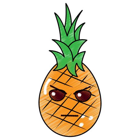 kawaii pineapple fruit mad expression, cartoon vector illustration
