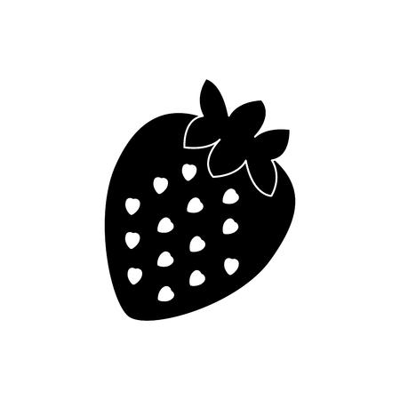 Strawberry fruit, food vector illustration