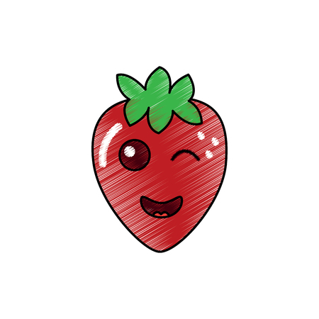 kawaii strawberry fruit cartoon character vector illustration