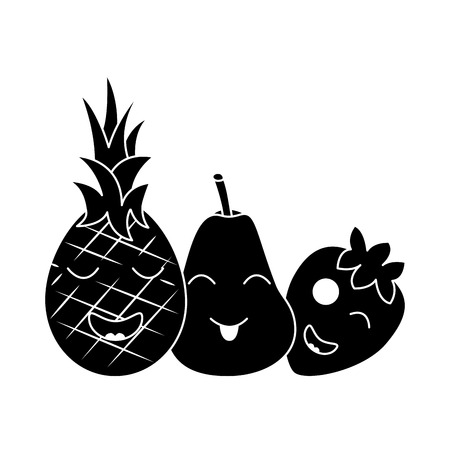 kawaii fruits cartoon pineapple, pear, and strawberry vector illustration