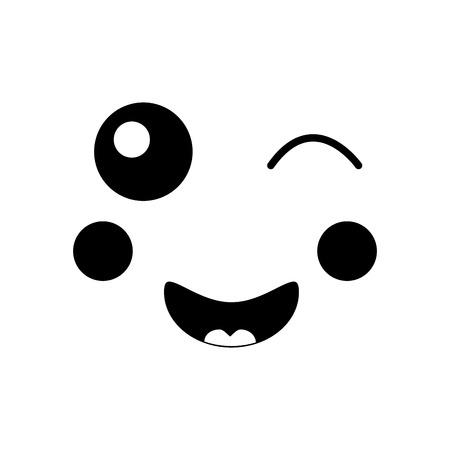face expression facial gesture cartoon vector illustration Иллюстрация