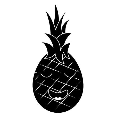 ananas fruit expressie gezichts beeldverhaal vectorillustratie Stock Illustratie