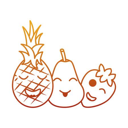 Kawaii fruits cartoon pineapple pear and strawberry vector illustration