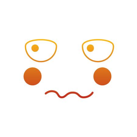 Kawaii face expression facial gesture cartoon vector illustration