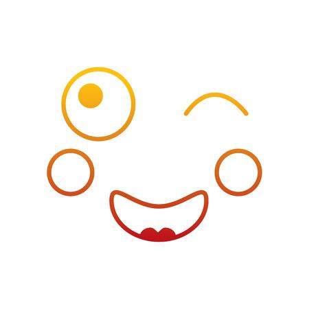 Kawaii face expression facial gesture cartoon vector illustration 版權商用圖片 - 90838065