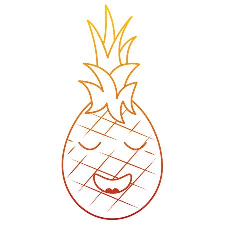 Kawaii ananas fruit expressie gezichtsbeeldverhaal vectorillustratie