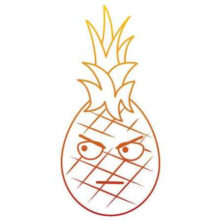 카와이 파인애플 과일 표정 얼굴 만화 벡터 일러스트 레이션 스톡 콘텐츠 - 90838077