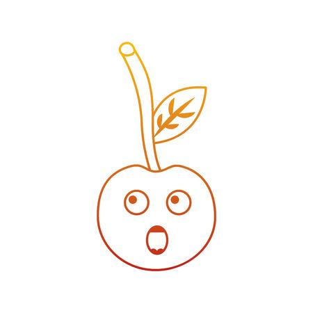 Cherry cartoon fruit facial expression vector illustration