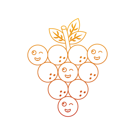 Funny bunch grapes cartoon cute vector illustration