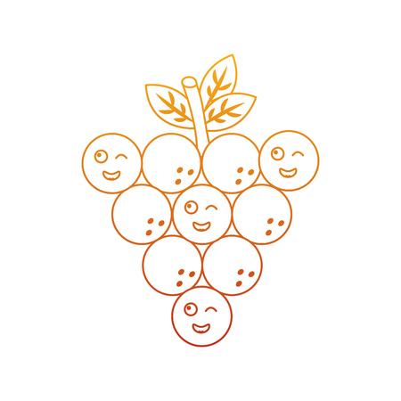 Funny bunch grapes cartoon cute vector illustration