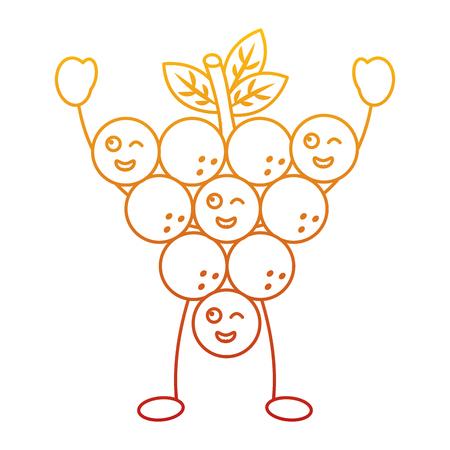 Funny kawaii bunch of grapes cartoon  vector illustration