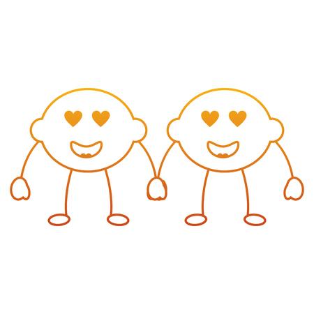 Pair of kawaii lemon cartoon cheerful character vector illustration 向量圖像
