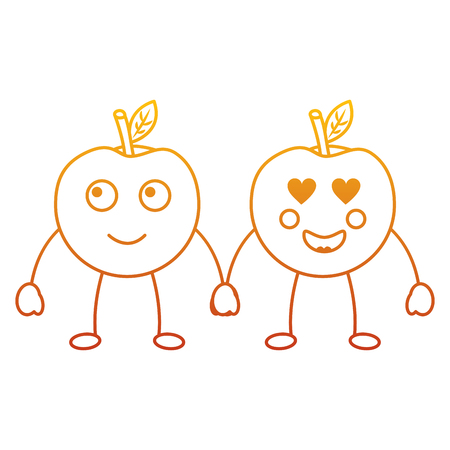 kawaii two cartoon fruit, apple holding hands vector illustration Illustration