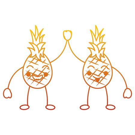 Frutta del fumetto di due kawaii, caratteri felici dell'ananas vector l'illustrazione Archivio Fotografico - 90838060