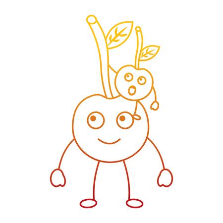 kawaii two cartoon fruit, cherry  vector illustration Stock Vector - 90838167