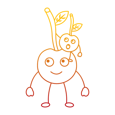 kawaii two cartoon fruit, cherry  vector illustration
