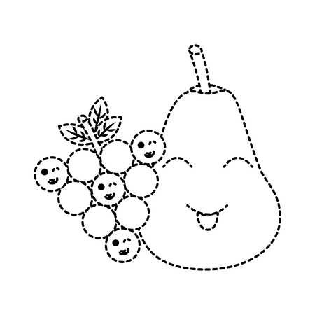 pear and grapes fruits cartoon vector illustration sticker Illustration