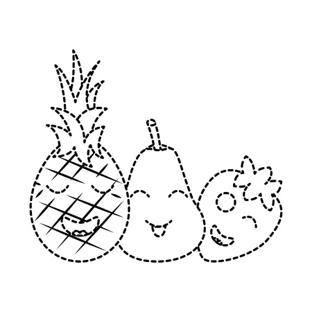 fruits cartoon pineapple pear and strawberry vector illustration sticker