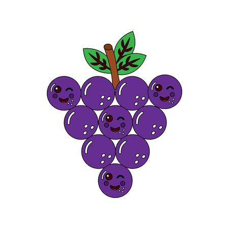 funny bunch grapes cartoon cute vector illustration Çizim
