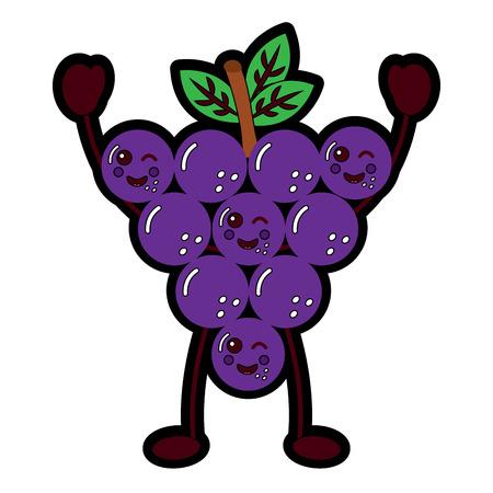 funny bunch grapes cartoon cute vector illustration Illustration