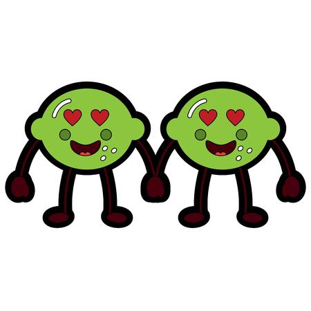 pair   lemon cartoon cheerful character vector illustration