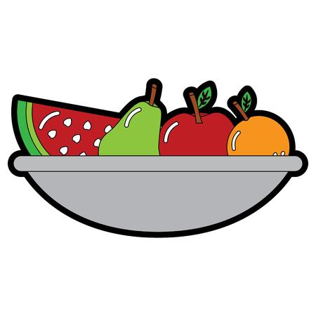 bowl with fruit fresh nutrition vitamins food vector illustration