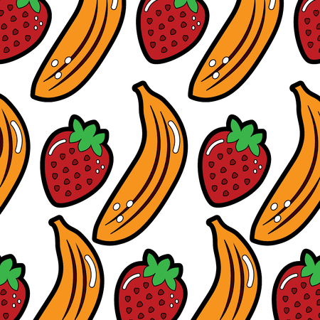banana and strawberry delicious seamless pattern vector illustration