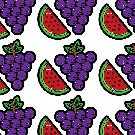 grapes and slice watermelon fruit seamless pattern vector illustration Stock Vector - 90967797