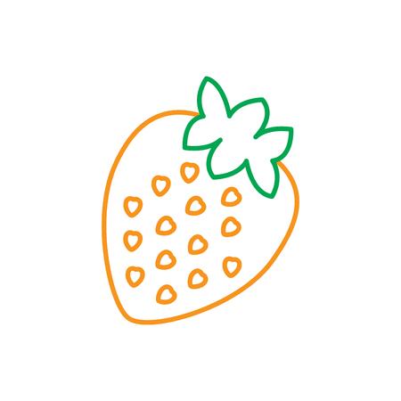 イチゴ果実おいしいビタミン栄養食品ベクトル図緑線オレンジ  イラスト・ベクター素材