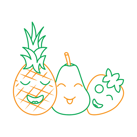 fruits cartoon pineapple pear and strawberry vector illustration line green orange