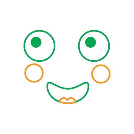 顔式顔ジェスチャー漫画ベクトル図緑線オレンジ