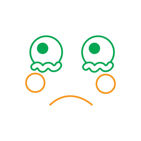 kawaii crying expression, cartoon line vector illustration in green and orange color