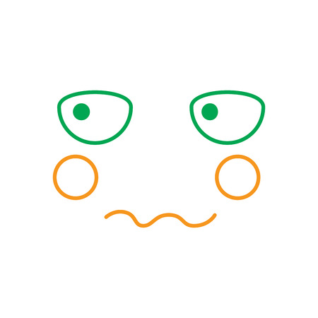kawaii worried expression, cartoon line vector illustration in green and orange color