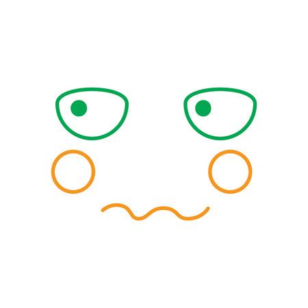 kawaii worried expression, cartoon line vector illustration in green and orange color Banco de Imagens - 90859989