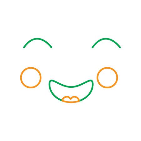 kawaii face expression, cartoon vector illustration line green and orange 向量圖像