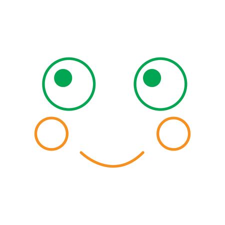 Kawaii gezichtsuitdrukking, cartoon vector illustratie lijn groen en oranje