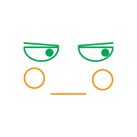 kawaii unamused face expression, cartoon line vector illustration in green and orange color