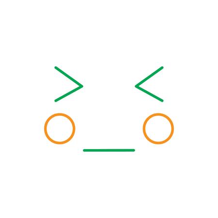 kawaii face expression, cartoon line vector illustration in green and orange color Illustration