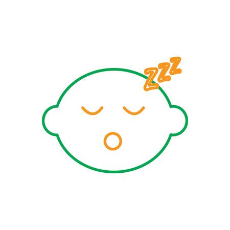 kawaii sleeping lemon, fruit cartoon line vector illustration in green and orange color Stok Fotoğraf - 90859999