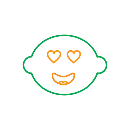 kawaii inlove lemon, fruit cartoon line vector illustration in green and orange color