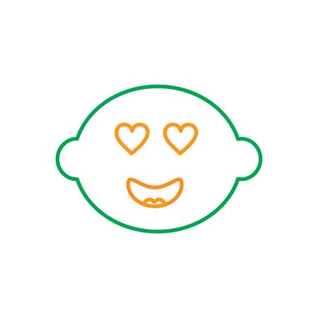 kawaii inlove lemon, fruit cartoon line vector illustration in green and orange color