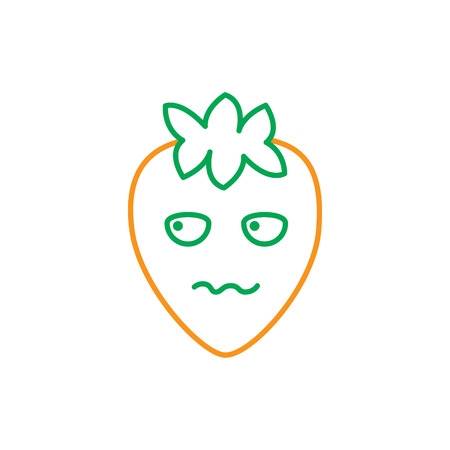 Kawaii Erdbeere, Fruchtkarikaturlinie Vektorillustration in der grünen und orange Farbe Standard-Bild - 90860003