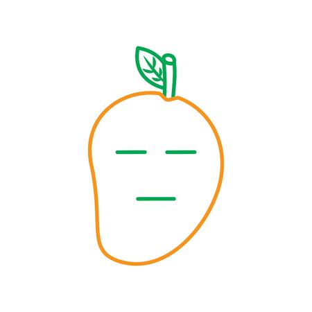 kawaii 중립 얼굴 망고, 과일 만화 문자 얼굴 표정 라인 벡터 일러스트 레이 션 녹색 및 주황색 일러스트